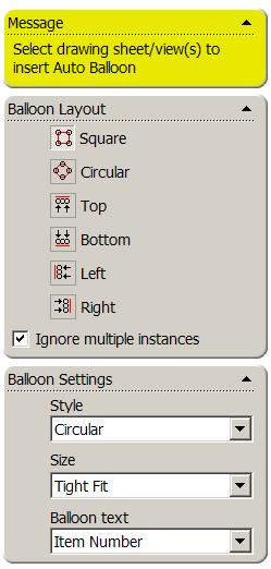 Balloon Referencing Balloons may be created in a drawing document. The Balloons label the parts in the assembly and relate them to item numbers on the Bill of Materials (BOM).