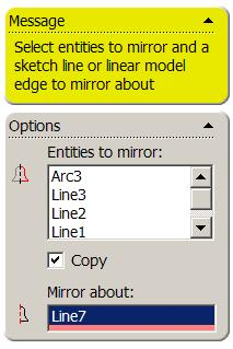 Mirror Mirror the fully defined sketch across the centre line using Mirror from the Sketch Toolbar.