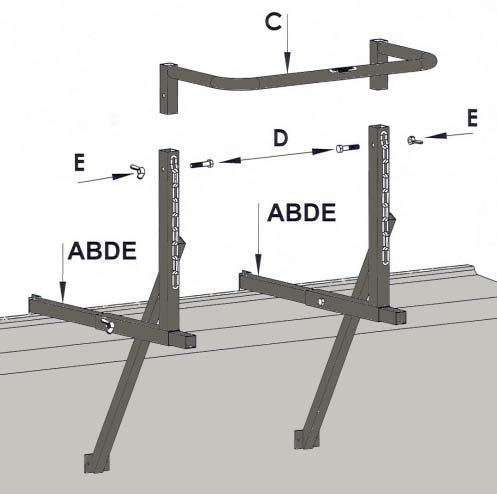Installing the window fixing frame (see diagram): The window fixing frame is suitable for mounting to window openings, sills, parapets etc. It is mounted to the building using the two strut jacks.