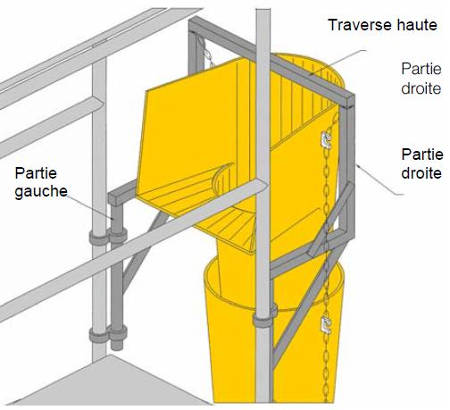 The maximum number of chute sections which can be attached to a scaffolding fixing frame depends on the height of the worksite: - For heights up to 40m (131ft), a maximum of 16 chute sections can be