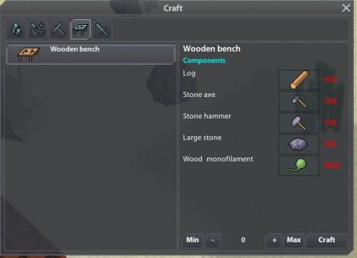 What to crafting first? When you have some resources you can assure yourself the first tools and weapons. Basic crafting an available without a workbench on the button [C].