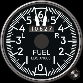 Fuel Quantity Indicator The fuel quantity indicator displays the remaining fuel quantity in the aircraft s fuel tanks. The mechanical gauge shows a total fuel quantity.