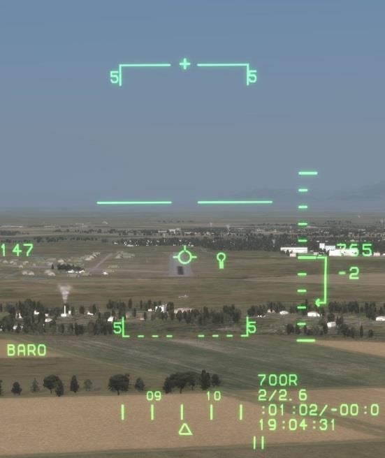 Landing Mode HUD and ILS In the instrumental landing system (ILS) mode, information to assist an instrument approach and landing is displayed. To enter landing mode, press the NAV [1] key.
