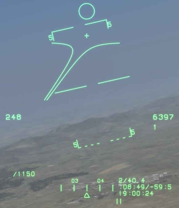 The gun funnel is located near the top of the HUD, above the AIM-9 seeker reticule. It displays the predicted flight trajectory of shells.