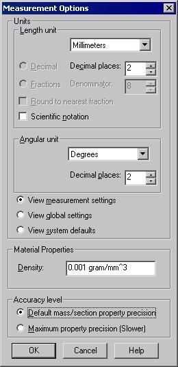 4-10 SolidWorks for Designers Options The Options button is used to invoke the Measurement Options dialog box.