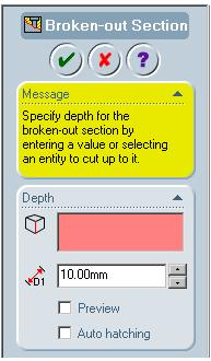 12-24 SolidWorks for Designers Figure 12-24 Sketch for creating the broken-out section view Figure 12-25 The Broken-out Section PropertyManager The Auto hatching check box is used to define the hatch