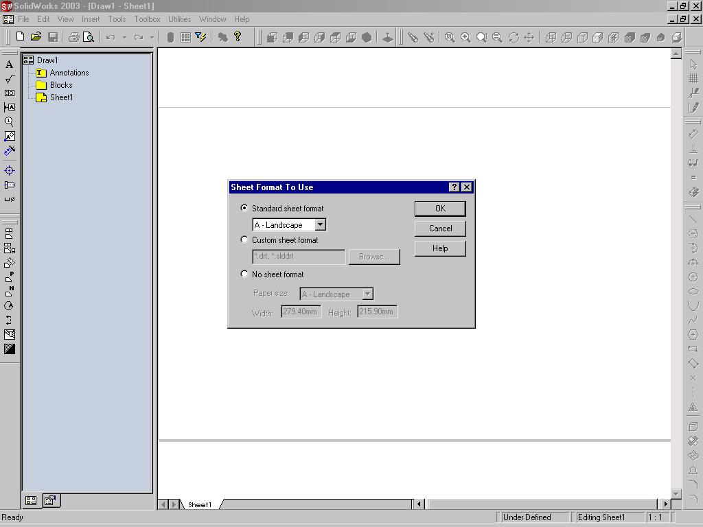 Working With Drawing Views-I 12-3 When you choose the OK button from the New SolidWorks Document dialog box, a new Drawing document is invoked. The Sheet Format To Use dialog box is also displayed.
