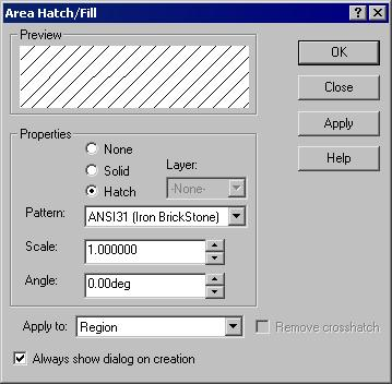 Working With Drawing Views-I 12-39 Figure 12-47 The Area Hatch/Fill dialog box Preview The Preview area is used to preview the hatch pattern with the current setting of the hatch pattern.