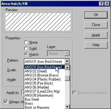 12-40 SolidWorks for Designers Pattern The Pattern drop-down list is used to define the style of the standard hatch pattern you need to apply to the section view.
