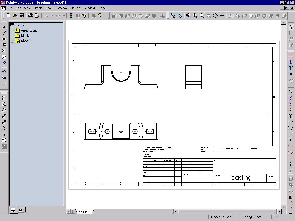 12-8 SolidWorks for Designers Figure 12-5 Three standard views created using the Standard 3 View tool Tip. If the generated view overlaps the title block, you need to move it.