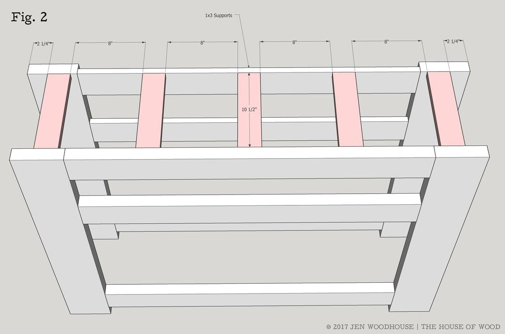 Chunky X Media Console Copyright 2017 Jen Woodhouse / The House of Wood 5 STEP 2 ATTACH THE SUPPORTS Measure, mark, and cut 1x3 supports to length.