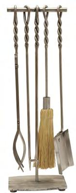 Small 26 (660 mm) Large 31 (787 mm) Pennine Tool Set A set of craftsmen made wrought iron fire tools with rope twist