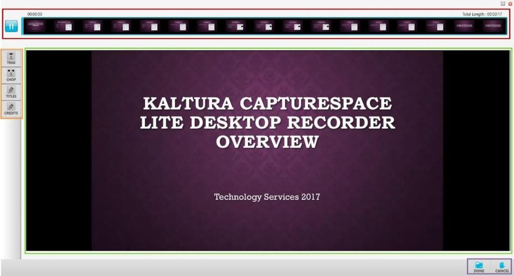 Kaltura CaptureSpace Lite Desktop Recorder: Editing, Saving, and Uploading a Recording For this handout, we will be editing the Screen Recording we created in the Kaltura CaptureSpace Lite Desktop