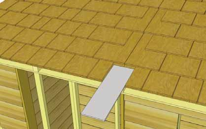 41. To cover roof seam, slide one Filler Shingle (5 1/2 wide) up