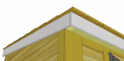 Place angle cut Side Facia underneath roof panel against Rafter/Facia Nailing Plate.