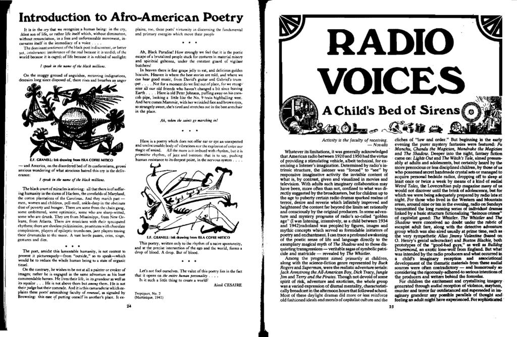 Introduction to Afro-American Poetry It is in the cry that we recognize a human being: in the cry, :1deM son of lire.