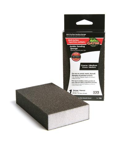 3 1/10 4086 3 x 5 x 1 Combo Fine/Med. 3 1/10 21/2 x 5 x 1 Dual Wedge Sanding Sponges For use in corners and edges. For use on wood, metal, fiberglass, and painted surfaces.