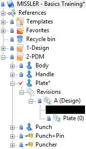 The Plate part document is checked out for edit (the blue lock turns into a red check mark ).