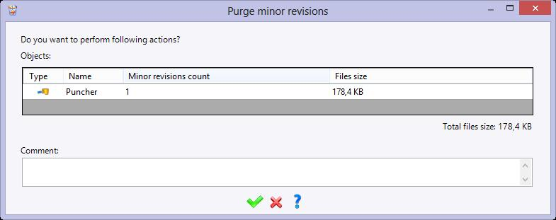 Right-click on the Puncher document. Select the Deletion menu, then Purge Minor Revisions.