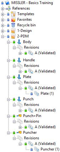 Even though you only selected the Puncher assembly, TopSolid notifies us that the A revision will be validated for several files. This is normal.