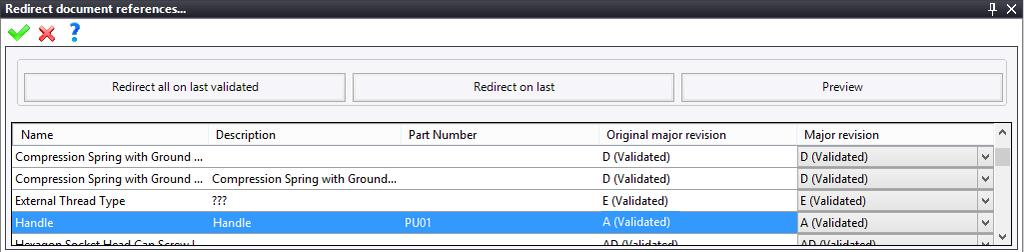 Exercise 14: The PDM TopSolid Design Basics Redirecting the references of the Puncher 2 document Right-click on the Puncher 2 document. In the Redirection menu, select Redirect References.