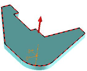 Draw the rectangle seen opposite by clicking on the first point of the part s vertical edge coinciding with the Y axis.