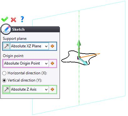 Exercise 5: The handle TopSolid Design Basics Creating the second sketch Click on the Arc icon. Select Absolute XZ Plane as the support plane in the drop-down list, and then click on confirm.