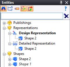 TopSolid must therefore be told that the part we want is not the yellow surface, but the solid. Display the Entities tree. To do this, click on the TopSolid 7 icon and select View > Entities.