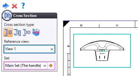 Exercise 5: The handle TopSolid Design Basics Making a cross section In the View tab, select the Cross Section function, choose the front view as the
