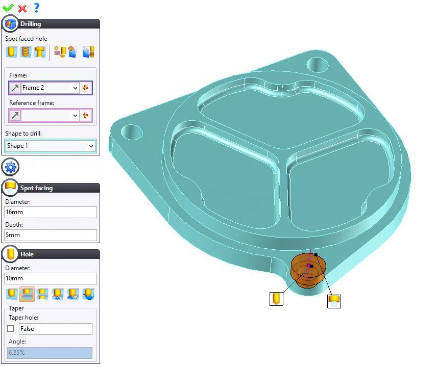 Exercise 6: The flange TopSolid Design Basics Modifying one of the drillings Right-click on the lower smooth hole and