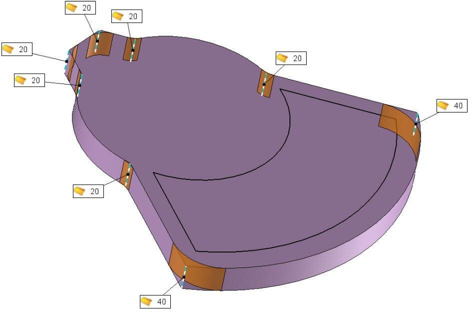 Exercise 12: The elbow TopSolid Design Basics Make R20 and R40 fillets on vertical edges of the