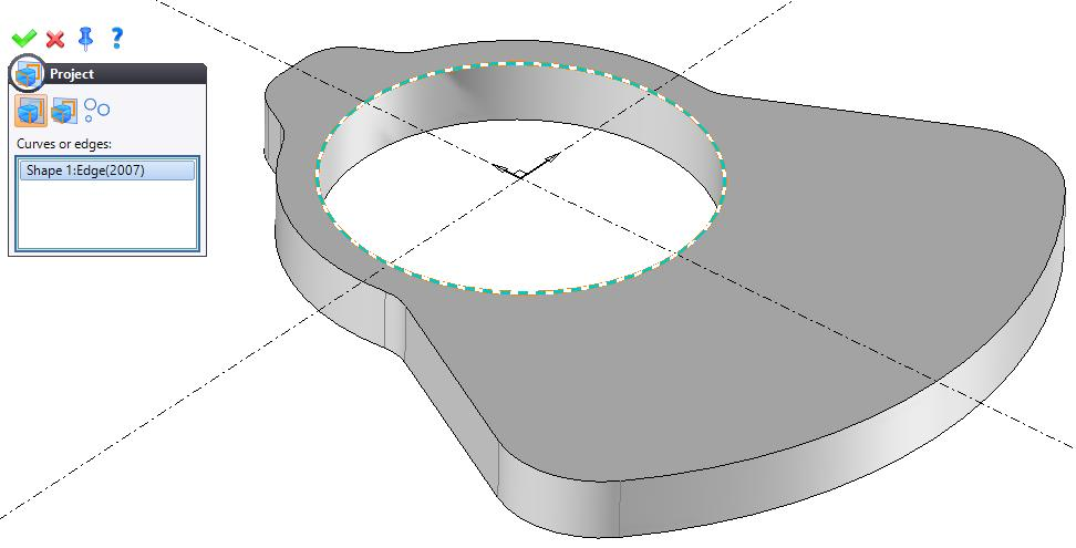 In the 2D Sketch tab, click on the Project icon and project the circular edge of the drilling onto the