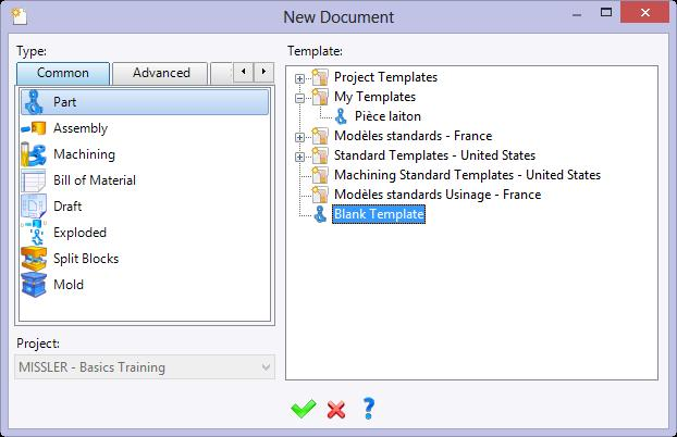 Exercise 1: The axis sketch TopSolid Design Basics Creating a new part document In the Project tree, right-click on the project name and select the Document function.