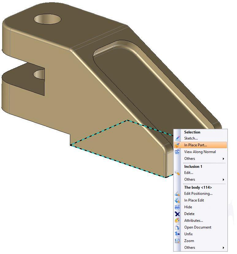 TopSolid Design Basics Exercise 13: The puncher Creating the in-place sole select Right-click on the lower face of the body and In Place