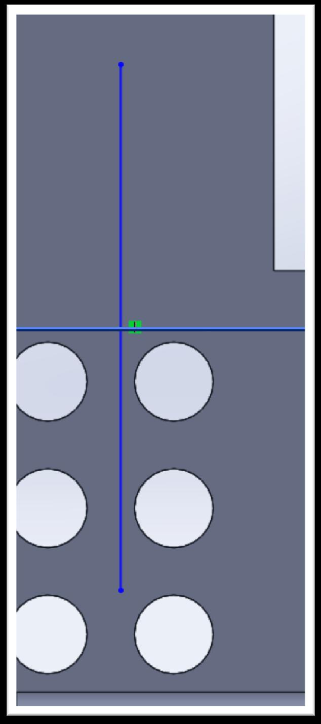 Now, open a sketch on that plane and make the view straight on. Draw a vertical line between the holes, like this: First, Design Intent.