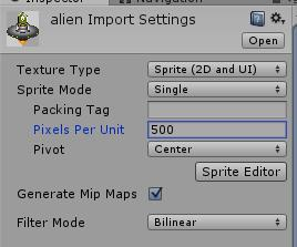 Test once again, you should be able to shoot beams now. Enemies We re using another free art asset, an alien by Ctoy- http://c-toy.blogspot.pt/ configure it using the settings below.