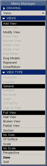 To Add Views to a Drawing From the Drawing menu, select Views > Add View View Type Settings For the first view added to a drawing select View Type > General (Note: this can also be used to add an