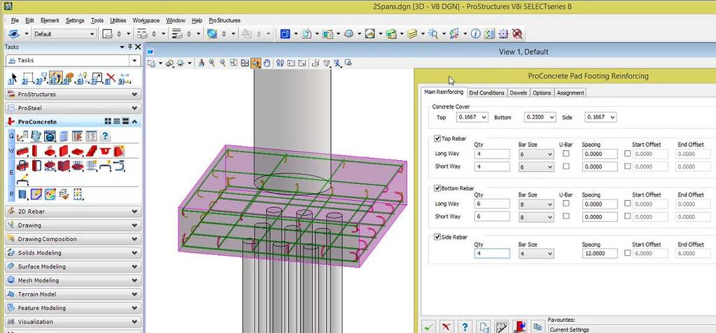 Integration with ProStructures Concrete objects are automatically