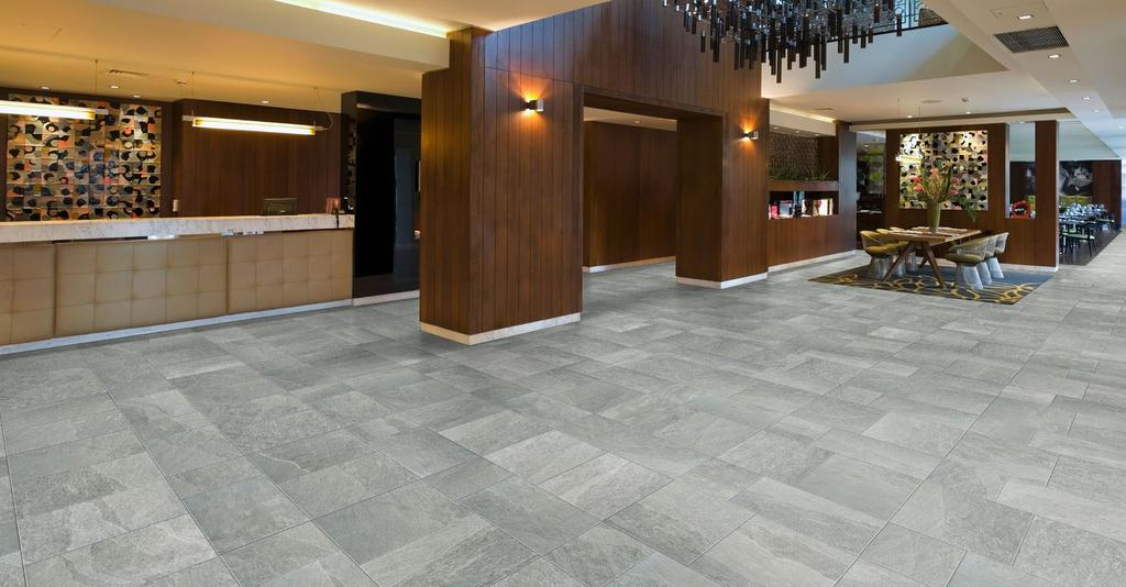 Shown: 28217 12x12,12x24 & 18x18 Light Grotto C L I F F S I D E BY Typical Uses Cliffside HDP color body porcelain floor tile is appropriate for all residential and commercial wall, countertop and