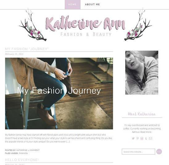 Website, Brand & Logo Design 14 Katherine Ann I worked with my youngest sister and designed her fashion blog and it was a ton of fun to design.