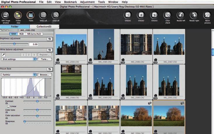 ABOVE Canon s own Raw conversion software is Digital Photo Professional, allowing for batch processing, quick previews and saving to TIFF or JPEG. What s the fuss about RAW?