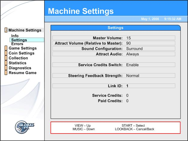 Chapter 3 Operator Menu and Game Setup Machine Settings: Settings Menu This menu lets you set up audio, Service Credit Switch (if applicable), steering feedback strength, and Link IDs.