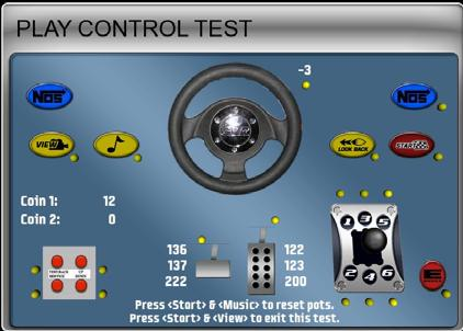 Chapter 3 Operator Menu and Game Setup Diagnostics: Play Control Test The Play Control Test menu lets you test driving controls, operator buttons, and coin mechs, as described below.