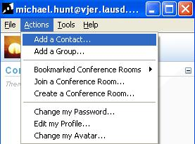 Add a Contact Add a user to your contact list Add a Group add a new group to the contact list Bookmarked Conference Rooms Add or organize bookmarks of conf.