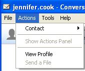Contact Rename or block user Show Actions Panel Not Used View Profile View user s profile Send a File Send a file to user Choose Emotions Change