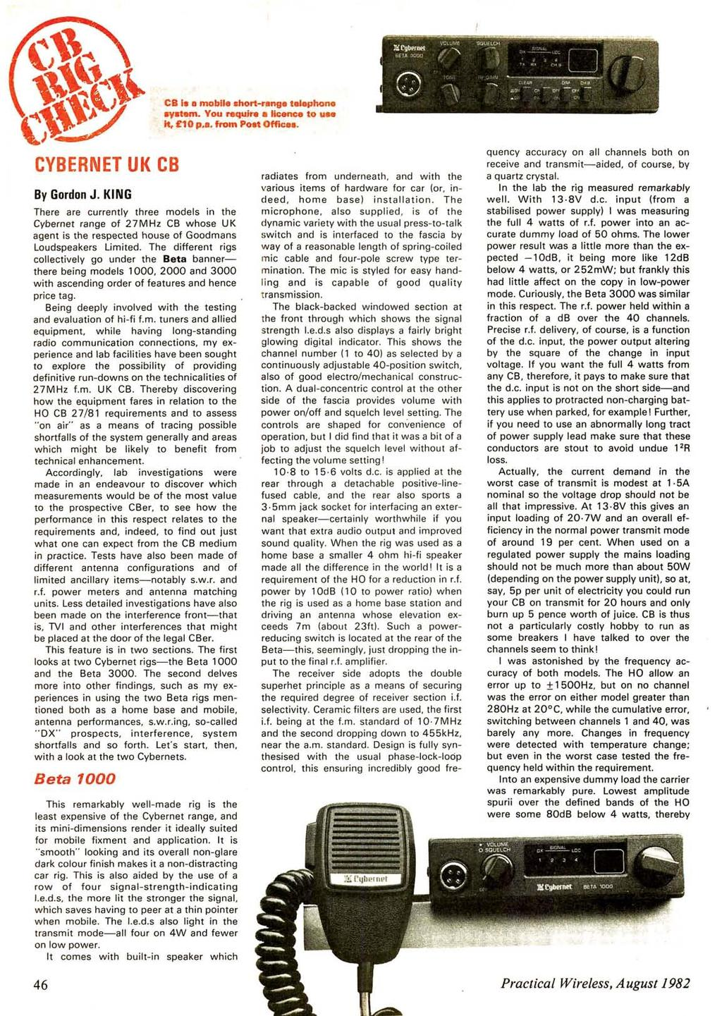 www.americanradiohistory.com CB la 11 mobile ahort-range telephone ayatem. You require alic:ence to... e t. 10 p.a. from Poet Offices. CYBERNET UK CB By Gordon J.