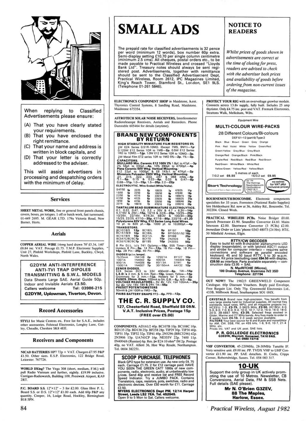 www.americanradiohistory.com SMALL ADS NOTCE TO READERS The prepaid rate for classified advertisements is 32 pence per word (minimum 12 words), box number 60p extra. Semi-display setting 10.