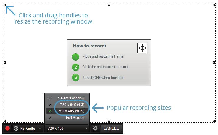 20 20 Set Recording Options After the Recording window appears, select a microphone option,