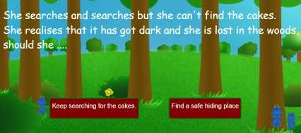 The text needs to be written in a way that leads to the player making a decision. For example, She searches and searches but she can t find the cakes.