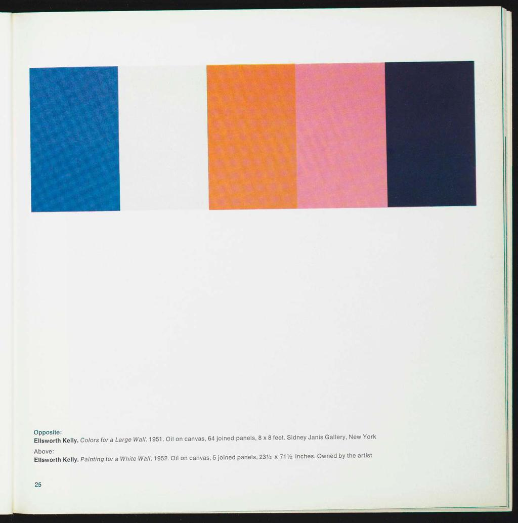 Opposite: Ellsworth Kelly. Colors for a Large Wall. 1951. Oil on canvas, 64 joined panels, 8x8 feet.
